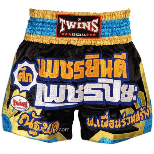 Twins TWS-904 Black/Gold/Blue Muay Thai Shorts